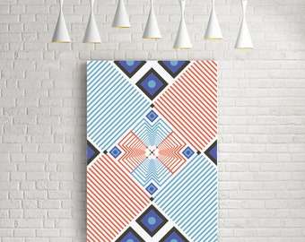 Stripes poster, abstract geometric art poster, op art, scandinavian print, modern print, wall decor poster, blue orange stripes poster
