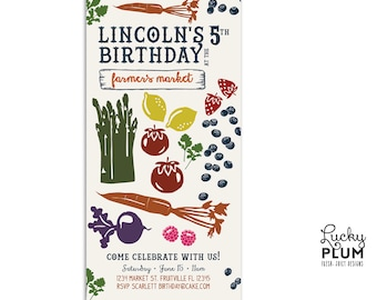 Vintage Farmer's Market Birthday Invitation / Farmers Market Birthday Invitation / Farm Birthday Invitation / First Fruit Vegetable Rustic