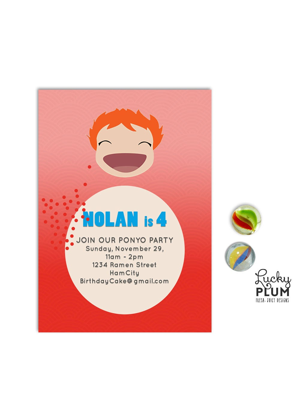 Ponyo Birthday Invitation Ghibli Japanese Anime Invite - Birthday invitation in japanese