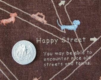 HAPPY STREET Puppies Fabric 1FQ (Cocoa)