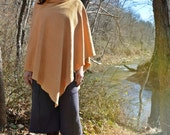 FALL SAMPLE SALE The Hooded Fleece Poncho in hand dyed organic hemp. Ready to ship. One size in color Kingfisher.