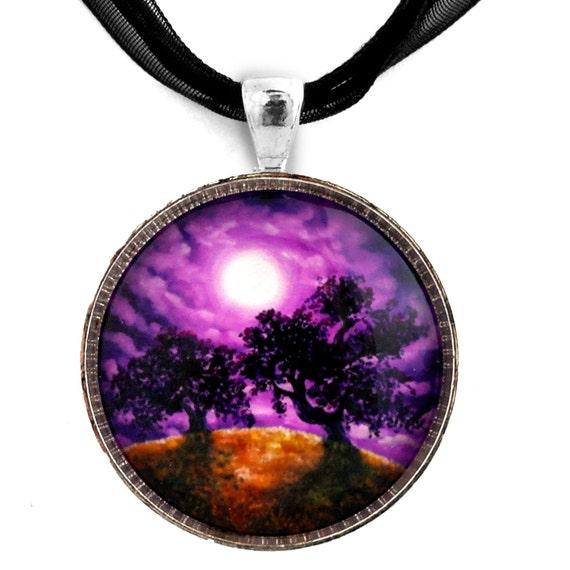 Oak Trees Pendant California Surreal Landscape Purple Moon Clouds Dark Art Jewelry Handmade Pendant
