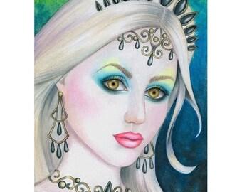 B. K. Lusk Painting Mermaid Fantasy Storybook Sea Green Jewel