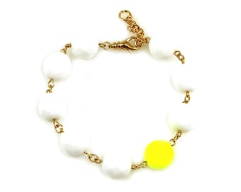 Neon Yellow Statement Bracelet, White Statement Bracelet, Neon Yellow Bracelet, White Bracelet, Neon Statement Bracelet, Neon Jewelry