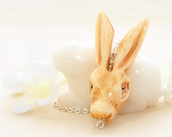 Bunny Rabbit Necklace Hare-y Hoodini - Bunny Jewelry - Rabbit Pendant