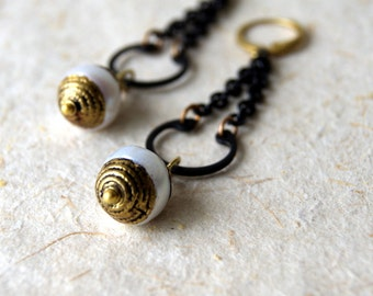 Tibetan Pearl Earrings - Pearl Earrings - Brass Accents - Rustic Jewelry - June Birthstone - boho chic - bohemian jewelry