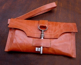 Orange Leather Wristlet with Antique Key and Credit Card Slots - Steampunk Checkbook Wallet MADE TO ORDER