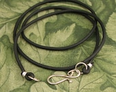 Black Rubber Cord with Handcrafted Sterling S Clasp