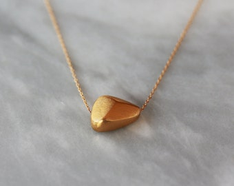 Golden Nugget Necklace, Faceted Gold Nugget, Gold Vermeil, 14 Gold Filled Chain, Sliding Pendant, Simple Necklace, Modern Metal Jewelry