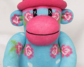 Pretty baby turquoise shabby chic rose Sock Monkey (made to order)