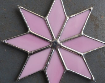 Sugar Star! Opaque Pink Stained Glass Suncatcher - pewtermoonsilver