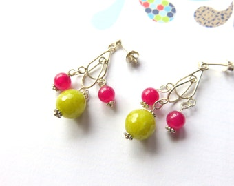 Jade Cluster Earrings, Citrus Dangles, Lime Green and Hot Pink, Sterling Silver Gemstone Earrings, Fun  and Flirty Jewelry, Gift for Her