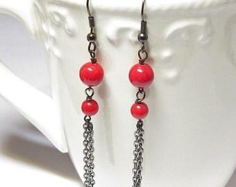 Red Jade and Gunmetal Chain Earrings