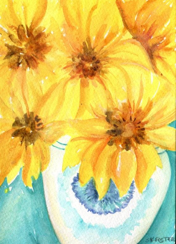 Pittura dell\'acquerello di girasoli vaso blu e bianco
