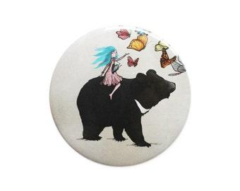 Moon Bear butterflies pocket mirror - brown bear asian bear butterfly girl accessories stocking fillers stuffers