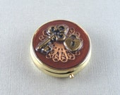 key and lock steampunk round pill case - mirrored compact - stash box - decorated box - decorated compact - industrial chic