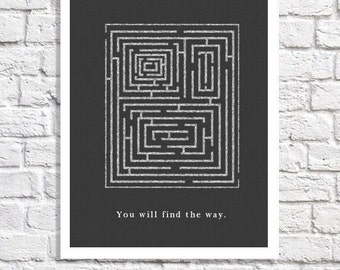 Inspiring Quote Maze Art Encouragement Gift Depression Print Therapy Office Wall Art School Psychologist Poster Inspirational Office Artwork