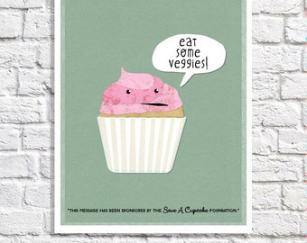 Eat Your Veggies Kitchen Quote Print Cute Cupcake Art Sage Green Kitchen Decor Unique Wall Art Idea Dining Room Artwork Funny Kawaii Picture