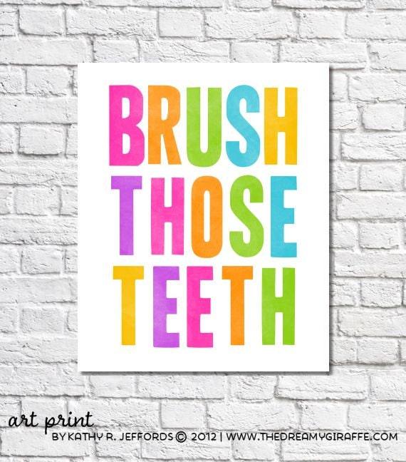 Brush Those Teeth Art Print, Cute Brush Your Teeth Reminder Art For Bathroom, Bright Neon Typographic Print. Children's Bathroom Decor Sign