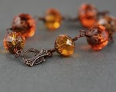 Tangerine Orange, Topaz Crystal and Copper Bracelet Featuring Antiqued Filigree Caps and Vintage Inspired Toggle Clasp