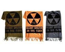 Fallout Shelter scarf. Atomic Era, linen weave pashmina, black silkscreen print. Prepare for the zombie apocalypse, nuclear winter.