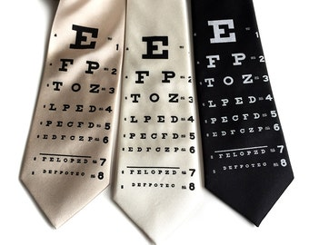 Eye Chart necktie. Vintage inspired optometrist print men's tie. Hand silkscreened necktie. Perfect eye doctor, optician gift.
