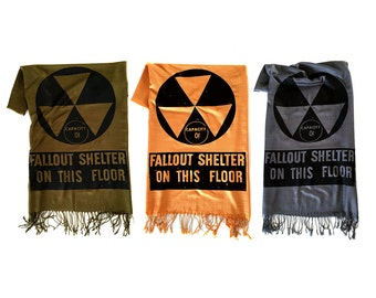 Fallout Shelter scarf. Atomic Era, linen weave pashmina, black silkscreen print. Prepare for the zombie apocalypse, nuclear winter.