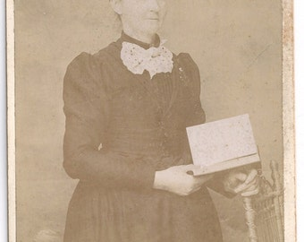 Woman with book cabinet card photo antique image Indiana