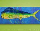 Mahi Mahi Art Block- Beach Theme Bedroom- Fish Gifts for Husband- Fish Art- Mahi Mahi Print- Gifts for Boyfriend- Gifts for Parents