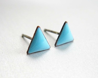 Tiny Triangle Stud Post Earrings, Sky Blue Kiln-fired Glass Enamel and Sterling Silver, 24 Custom Colors Available