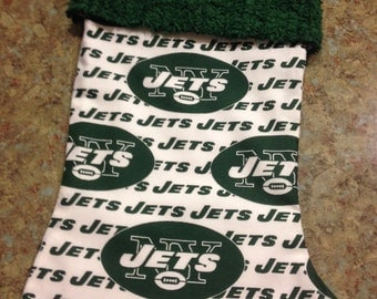 NFL New York Jets and Chenille Handmade Christmas Stocking with FREE U S SHIPPING