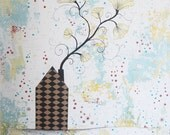 Large Original Acrylic Flower and House Painting , Folk Art Collage, Mixed Media Painting