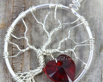 Heart Tree of Life Pendant Silver Wire Wrapped Jewelry Love Valentine's Day Swarovski Crystal Romance Romantic Gift for Her Be Mine RTS