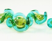 Mojito and Teal Glass Ruffle Disc Beads Set of 6
