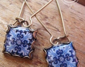 Azulejos tiles, Portuguese jewelry, earrings, Spanish tile drop earrings, Gypsy jewelry, Iberian, Moorish, blue and white, MTO