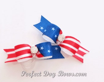 USA Patriotic July 4 Dog Bow Pair for Maltese and Puppies