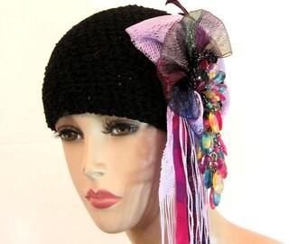 Womens hat, beanie, black hat, statement hat, millinery, designer hat, black beanie, unique hat, hats for women, fascinator hat