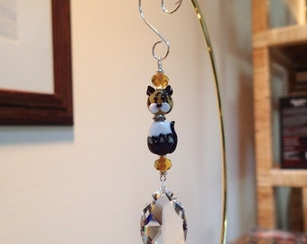 Brown Topaz and White  Glass Cat  and Clear Swarovski Marquise Suncatcher LOGO