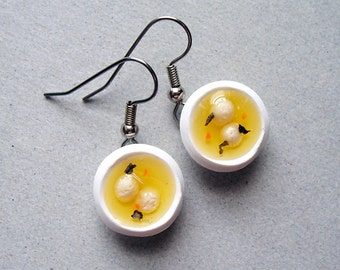 Matzah Ball Soup Earrings - polymer clay miniature food jewelry