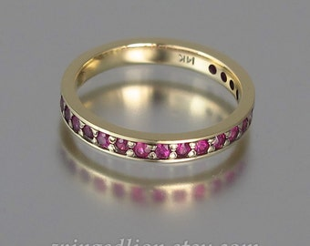 LAUREL 14k gold wedding band with natural Rubies