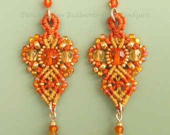 Micro Macrame Beaded Earrings- Macrame Earrings, Glass Bead Earrings in Orange and Amber- Classic style
