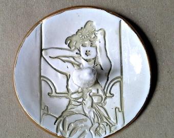Ceramic Art Nouveau  Ring Holder
