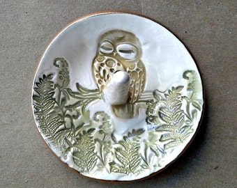 Ceramic Yellow Owl with green ferns Ring Holder Bowl