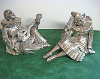 French Pierrot Pierrette (2) Pair Figurines French Metal Spelter Figures Bookends Statues France 9954