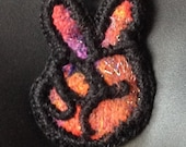 Needle Felted and Embroidered and Beaded Necklace Peace Sign Design