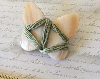 BUTTERFLY thread winder made from mother of pearl beautiful embroidery floss holder