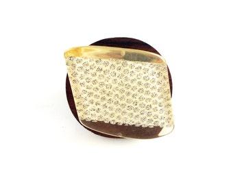 Vintage Italian Lucite Tilt Wood Ring