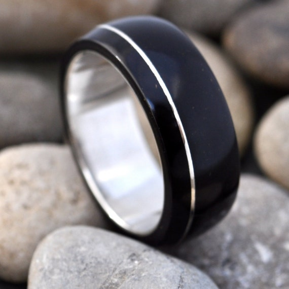 Asi Coyol Ring - organic wood ring with sterling silver inlay
