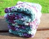 Crochet Dishcloths, Washcloths, Face Scrubbies, Dish Cloth, Wash Cloth, Set of 3, Cotton