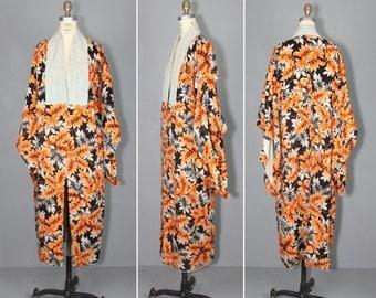 1940s kimono / vintage kimono / silk robe / DESERT PALMS floral kimono